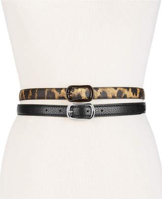 Steve Madden Leopard-Print 2-for-1 Skinny Belts