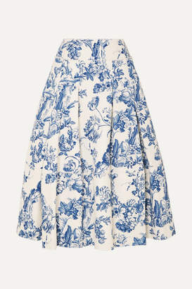 Oscar de la Renta Pleated Floral-print Cotton-blend Midi Skirt - Blue