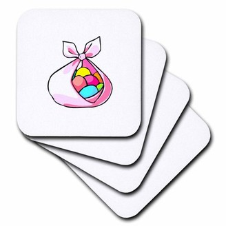 3dRose cloth with easter eggs , Soft Coasters, set of 4