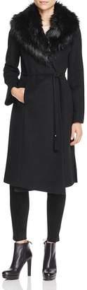 Via Spiga Belted Faux Fur-Trim Wrap Maxi Coat