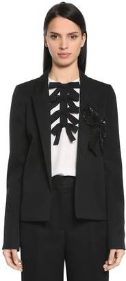 Rochas Cool Wool Jacket W/ Sequined Bow