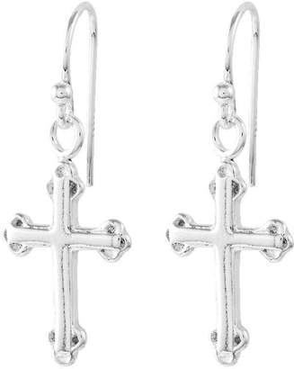 Sterling Polished Cross Dangle Earrings