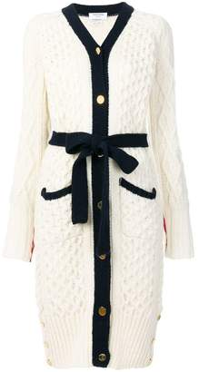 Thom Browne Long Cable Knit V-neck Cardigan Coat