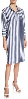 Piazza Sempione Elongated Striped Cotton Shirtdress