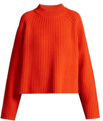 Ribbed Wool Blend Sweater - Womens - Orange