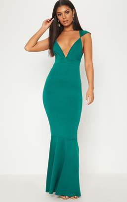 PrettyLittleThing Emerald Green Extreme Plunge Shoulder Detail Fishtail Maxi Dress