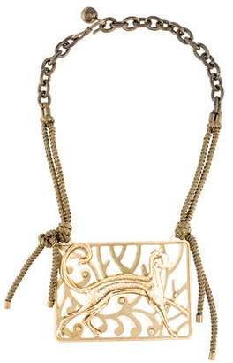 Lanvin Ornate Cat Pendant Necklace