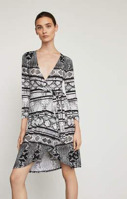 BCBGMAXAZRIA Adele Snake Print Wrap Dress