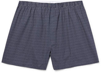 Sunspel Printed Cotton Boxer Shorts - Men - Navy