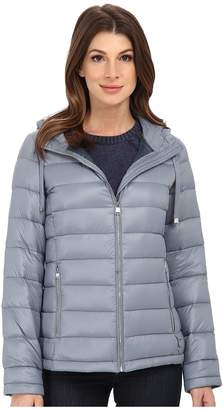 Calvin Klein Short Packable Down Coat w/ Horizontal Quilt Pattern Women's Coat