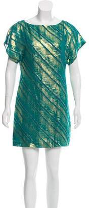 Trina Turk Silk Metallic-Accented Mini Dress