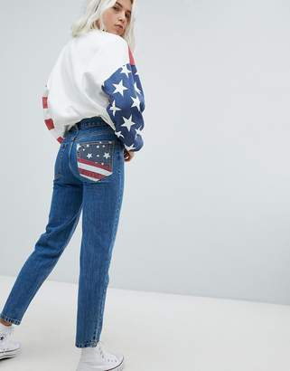 Pull&Bear Usa Flag Mom Jeans