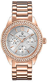 Bulova Ladies Rosetone Crystal Accented Bracelet Watch $425 thestylecure.com