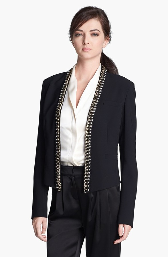 St. John Chain & Ribbon Detail Crepe Marocain Jacket