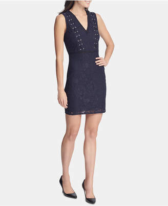 GUESS Sleeveless Lace-Up Bodycon Dress