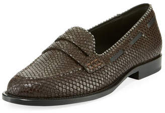 Giuseppe Zanotti Men's Snake-Embossed Leather Penny Loafers