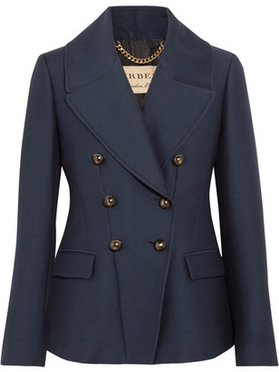 Burberry - Double-breasted Twill Blazer - Navy $995 thestylecure.com