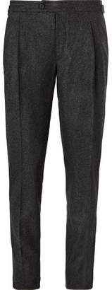 Thom Sweeney Brook Slim-Fit Pleated Mélange Wool Trousers
