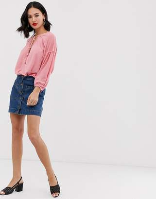 71c2d8ab4 Free People Dont Get Me Wrong button down denim skirt