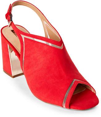 Tahari Coral Red Lark Block Heel Slingback Sandals