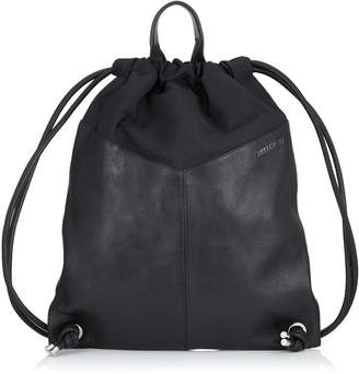 Jimmy Choo MARLON Black Biker Leather and Nylon Drawstring Backpack with Stars
