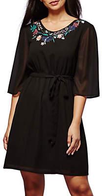 Yumi Botanical Embroidered Dress, Black