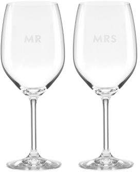 Kate Spade Darling Point Mr. and Mrs. Wine Glasses Set