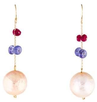 14K Pearl, Tanzanite & Ruby Drop Earrings