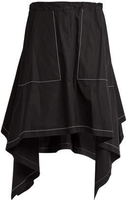 J.W.Anderson Asymmetric-hem draped cotton-poplin skirt