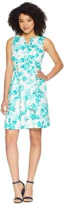 Nine West Sleeveless Split-Neck Fit Flare Dress Women's Dress