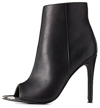 Gold-Tipped Peep Toe Booties $38.99 thestylecure.com