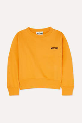 Moschino Flocked Cotton-jersey Sweatshirt - Yellow