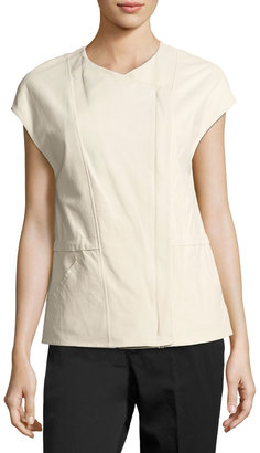 Vince Leather Cap-Sleeve Jacket, White $649 thestylecure.com