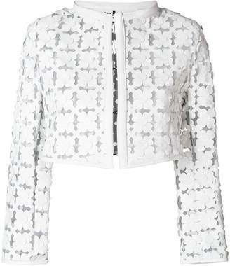 Caban Romantic semi-sheer floral cut-out bolero jacket