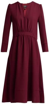 A.P.C. Bing Belted Crepe Dress - Womens - Burgundy