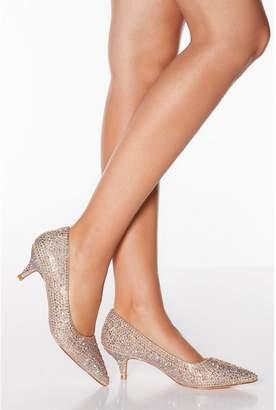 Quiz Rose Gold Diamante Kitten Heels