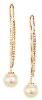Yoko London Women's 18K Rose Gold, 9.6MM Freshwater Pearl & Diamond Threader Earrings