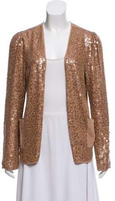Madison Marcus Embellished Silk Open Front Jacket