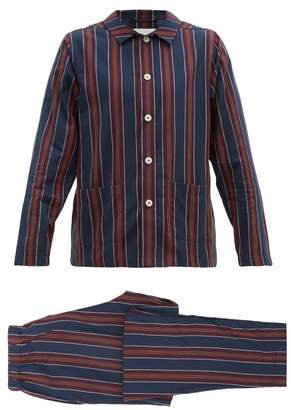 Nufferton - Uno Striped Cotton Pyjama Set - Mens - Navy Multi