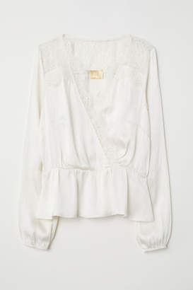 H&M V-neck Satin Blouse - White