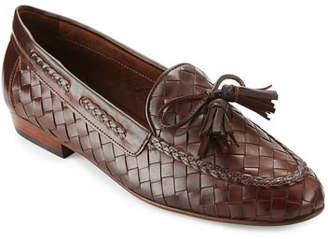 Sesto Meucci Nicole Woven Leather Loafer, Dark Tan