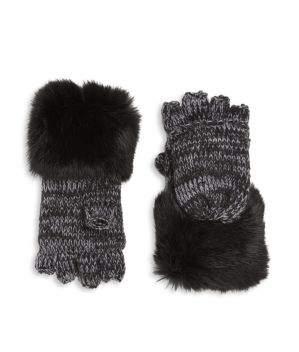 Surell Kid's Rabbit Fur Cuff Convertible Mittens