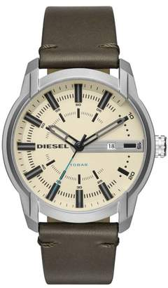 Diesel R) Armbar Leather Strap Watch, 45mm x 50mm