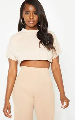 4c9e1c8ab0af5 PrettyLittleThing Petite Nude Ribbed Crop Top