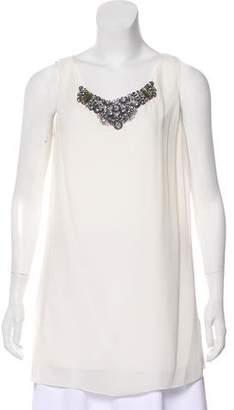 Magaschoni Sleeveless Embellished Silk Blouse