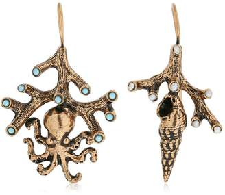 Alcozer & J Fish Brass Earrings With Pearl