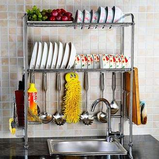 NEX Adjustable 2-Tier Stainless Steel Dish Rack With Chopstick And Utensil Holder, Moveable S-Hooks, Draining Tray, And Cutting Board Rack (NX-BOWLSHELF01)