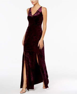 Calvin Klein Crushed Velvet Cutout-Back Gown