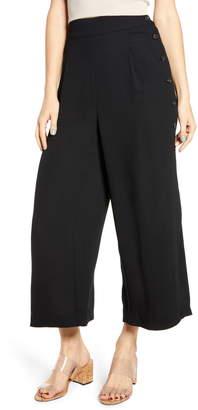 Leith High Waist Side Button Crepe Pants