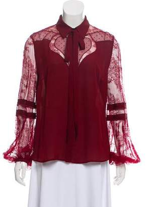 Elie Saab Lace-Accented Long Sleeve Blouse